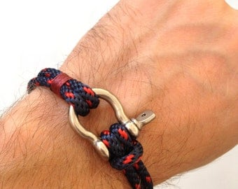 Nautical Sailing Bracelet  Stainless steel  Shackle -Rope Bracelet- Paracord Bracelet- Navy4