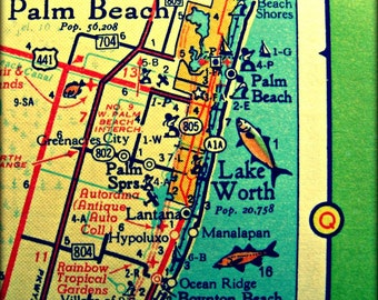 Palm Beach Map, Florida vintage map art, west PALM BEACH square map, Retro illustrated map of Florida's east coast, aqua 12x12 20x20 map