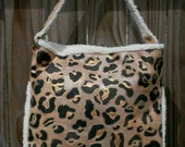 Retro Suede Tote handbag Leopard Handpainted Upcycled, Laptop Bag anything bag