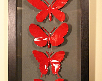 Six Up-cycled Bright Red Box Framed Butterflies