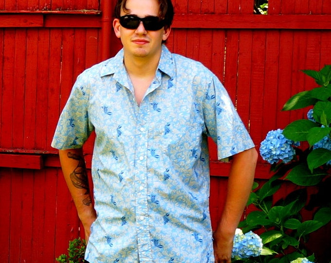 Koi Aloha Shirt Vintage Reyn Spooner Hawaii Hawaiian Shirt Mens Medium Tan & Navy Koi Fish Print Light Blue Glazed Cotton Fathers Day Gift