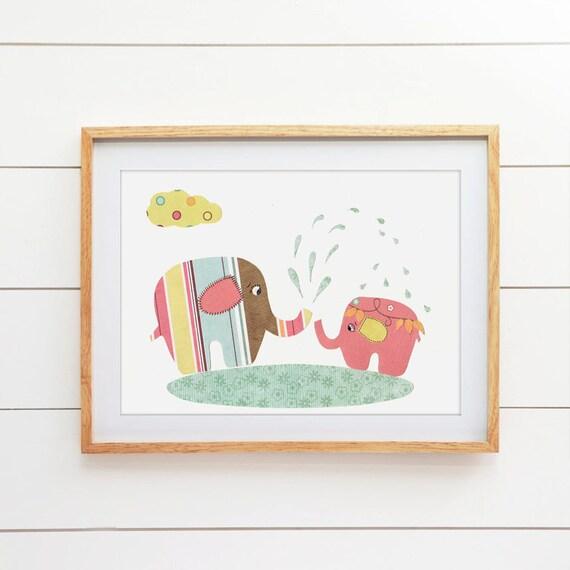 wall art elephant nursery decor childrens art print baby shower