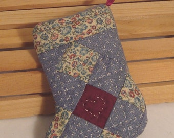 MIniature Handcrafted Quilted Calico Christmas Stocking