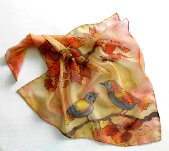 Orange silk hand painted  scarf with birds . Autumn colors. Ready to ship.