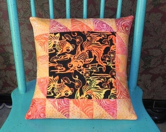 Crazy Koi Goldfish Pillow Cover