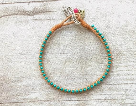 Friendship Bracelet, Leather Bracelet, Turquoise Bracelet, Charm Bracelet, Clasp Bracelet, Womens Bracelet, Girlfriend Gift, Sister Gift