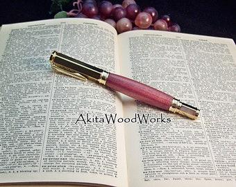 Rollerball Pen - Purple Heart Wood - 24kt Gold Metal Finish - Wooden Pen
