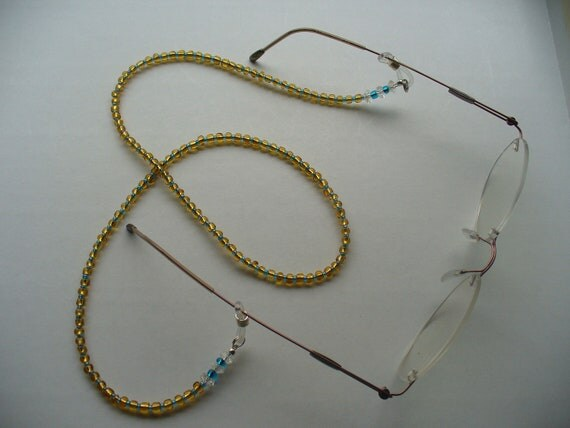 beaded eyeglass holder blue and gold glass reading