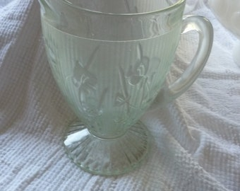 Lovely Green Jeanette Glass Iris Pitcher