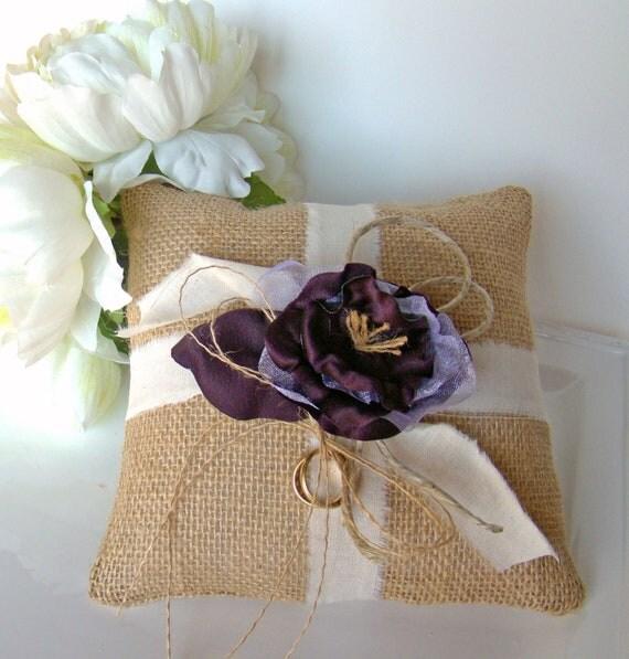 Items Similar To Burlap Ring Bearer Pillow, Ring Pillow
