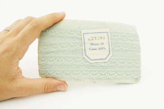 Vintage French trim, mint lace trim in the original package, vintage sewing supplies