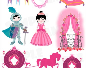 Princess and Knight Clip Art Set
