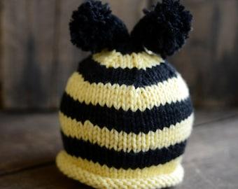Bumblebee Baby Hat,Baby Bumblebee Knit Hat,Newborn Bumblebee Hat,Newborn Baby Hat,Newborn Photo Prop,Baby Girl Knit Hat, Baby Boy Knit Hat,
