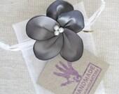 Dark Gray Flower Hair Accessory. Gray Flower Pin. Flower Hair Pin. Bridesmaids Hair Piece. Flower Girl Hair Accessory.