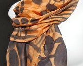 "Manhattan Modern/ SILK SCARF.  Hand Painted Silk Scarf by New York City  artist Joan Reese / 100% Silk/14""x72"""