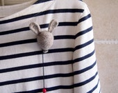 Reserved for Karen. Rabbit balloon brooch. Needle felted balloon with rabbit ear brooch in natural