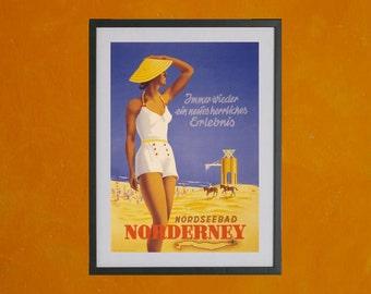 Nordseebad Norderney Retro German Travel Poster 1930