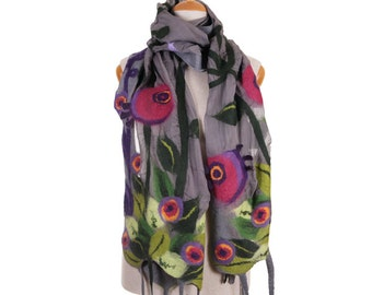 SALE! grey nuno felted scarf spring meadow II fairy multicolor silk felt wool felted scarf,delicate felted shawl,nunofelted art scarf