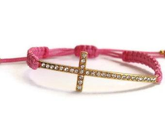 Gold Cross Pink Macrame Bracelet