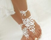 White barefoot wedding sandals Crochet barefoot sandals Bridal anklets Bare foot jewelry Bottomless sandals Footless sandles Soleless shoes