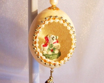 Vintage Christmas Ornament: Christmas Carousel Horse in an Egg - S1032