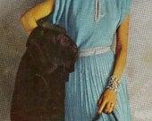 Vintage 1948 Evening Dress with Draped Shoulders & Silver Metallic Trim 812 PDF Digital Knit Pattern