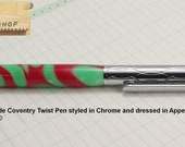 Ballpoint Pen Handmade in Chrome and Appeltini Acrylic