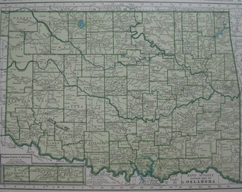 Vintage OKLAHOMA Map of Oklahoma State Map 1945 UNUSUAL Color Map Plaindealing 2343