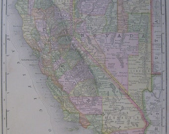 Antique CALIFORNIA Map NEVADA Map 1888  Vintage State Map BEAUTIFUL Color  Plaindealing 837