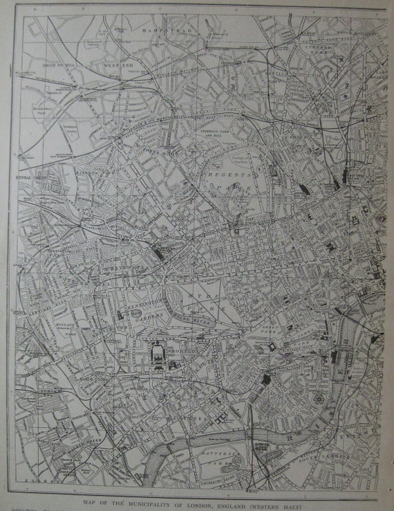 1911 Antique LONDON Map Vintage City Map with NAMED STREETS Plaindealing 641