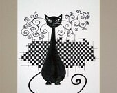 Halloween Black cat art PRINT Cat painting PRINT Animal art print - Black and white print - Minimalist print - Chess art 8x12 Artbyasta