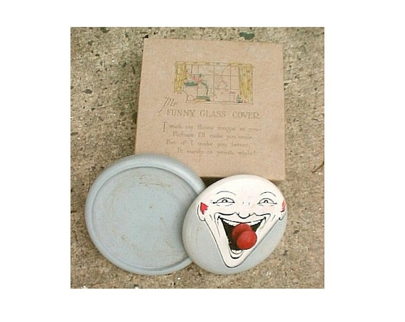 1920s Novelty Get Well Gift - Mr Funny Glass Cover - Vintage Funny Face Clown Drinking Glass Coaster and Fly Cover