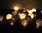 20 Big Cotton Balls Mixed Earth Brown Tone Fairy String Lights Party Patio Wedding Floor Table or Hanging Gift Home Decor Christmas Bedroom