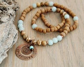 Om Shanti - Peace - beaded yoga necklace with hand stamped copper pendant