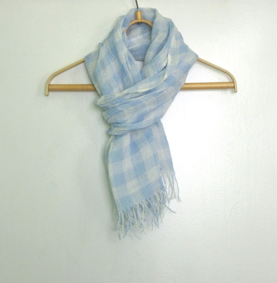 Reserved to Cecile - Linen scarf - Light blue White linen scarf with knot fringes Unisex Summer linen scarf Natural organic linen scarf