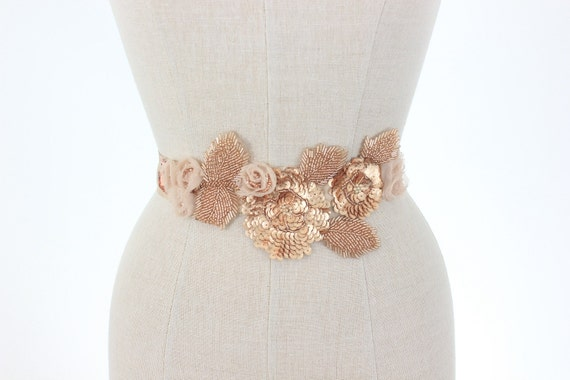 Rose Gold Wedding Belt Beaded Bridal Sash Floral Vine Leaf