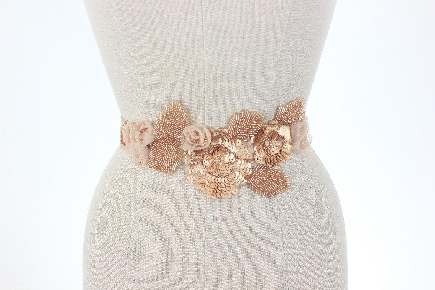 Rose gold wedding belt beaded bridal sash floral vine leaf for Gold belt for wedding dress