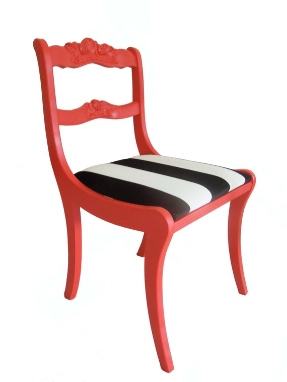 ON HOLD - Refurbished Vintage Lipstick Red Wooden Chair