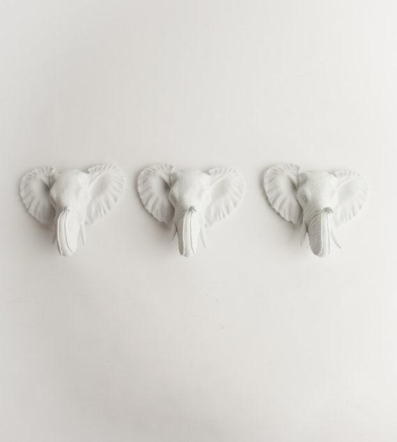The Sakis - Set of 3 White Mini Faux Elephant Decor Heads- Resin African Elephant Head Wall Mount- Fake Animal African Safari Elephant Heads