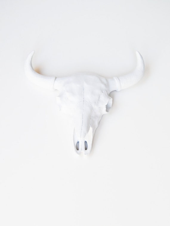 White Faux Taxidermy - The Ludmilla - White Resin Buffalo/Bison Skull Head- White Faux Taxidermy- Chic & Trendy
