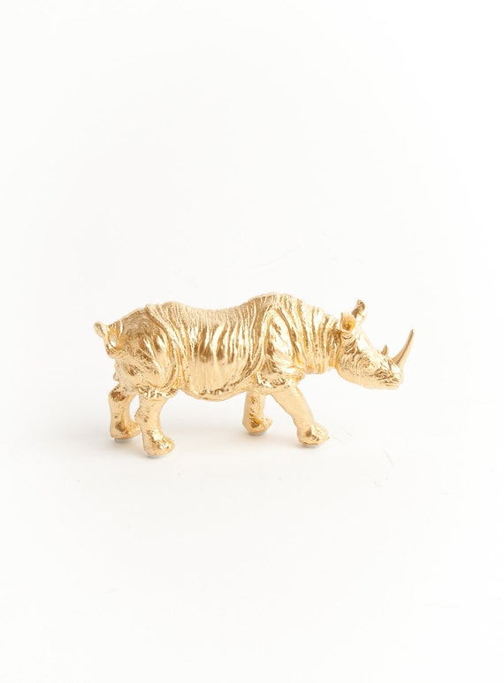 The Bex - Gold Table Top Rhino Decoration - Animal Statue - Faux Taxidermy