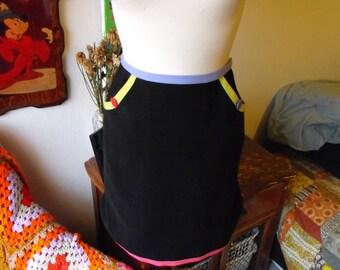 SALE - Vintage 90s Neon Trim High Waisted Studio G Petite Skirt  Sz 6p