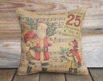 Christmas Pillow, Santa Throw Pillow, The Christmas Tree, Music Notes, Cottage Decor, Burlap Pillow, Red