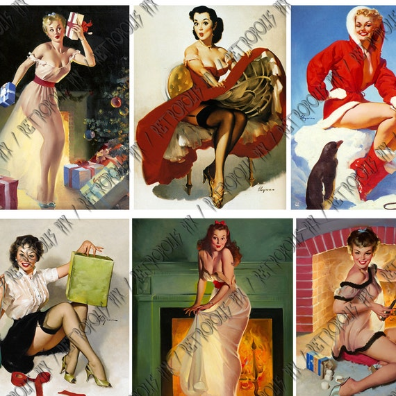 Vintage Christmas Pin Up Girls Digital Collage Sheet Gil