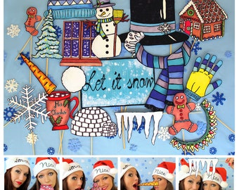 Frosty the snowman and other icy winter Christmas photo booth props - perfect for your winter wonderland party