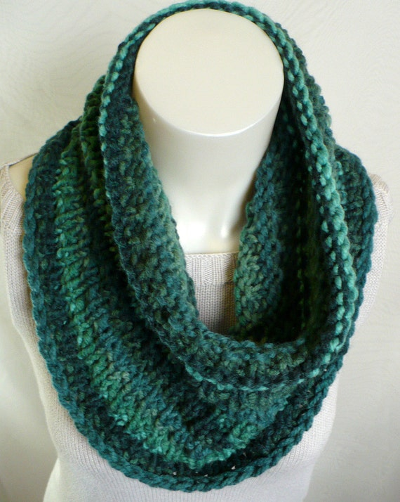 Hand Knit Cowl Knit Neck warmer striped chunky cowl in