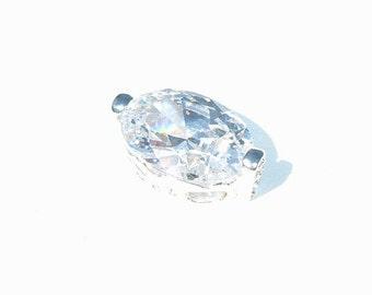 Navette Cut Cultured Diamond Pendant 925 Sterling Silver Setting