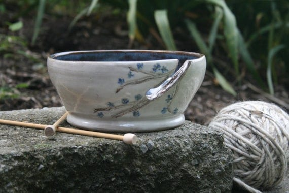 Stoneware Ceramic Pottery Knitting Yarn Bowl, Hand Carved