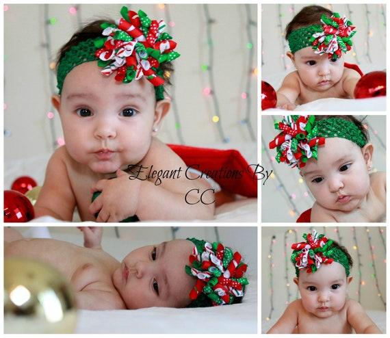 "3"" Christmas Candy Print and Stripe Grosgrain Ribbon Korker Hairbow &1.5"" Crochet Headband"