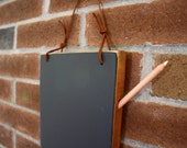 Kitchen Chalkboard- Hanging Chalkboard Tablet - Medium Cherry with Leather strap - Unique Birthday Gift